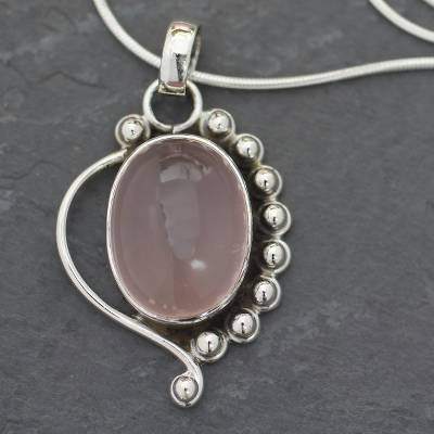 Rose quartz pendant necklace, 'Delhi Romance' - Handcrafted Sterling Silver and Rose Quartz Necklace