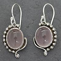 Rose quartz dangle earrings, 'Delhi Romance' - Rose Quartz Earrings in Sterling Silver from India Jewelry