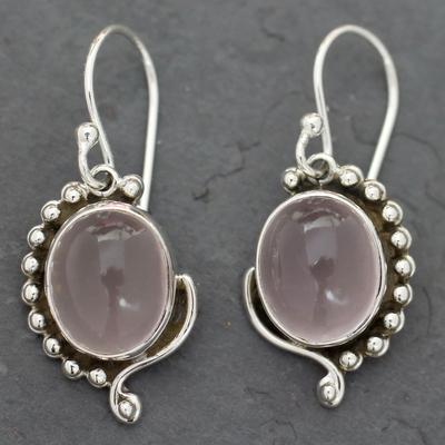 Rose quartz dangle earrings, 'Delhi Romance' - Rose Quartz Earrings in Sterling Silver from India Jewelry