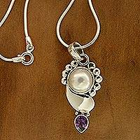 Pearl and amethyst pendant necklace, 'Rajasthan Glory' - Pearl and Amethyst Pendant on Sterling Silver Necklace