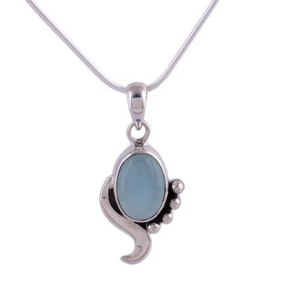 Blue Chalcedony Necklace Modern Jewelry from India
