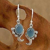 Blue chalcedony dangle earrings, 'Hindu Harmony' - Hand Made Sterling Silver and Chalcedony Earrings