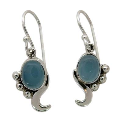 Hand Made Sterling Silver and Chalcedony Earrings