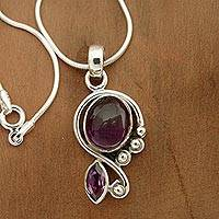 Amethyst pendant necklace, 'Delhi Delight'