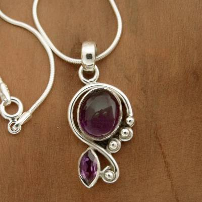 Amethyst pendant necklace, 'Delhi Delight' - Artisan Crafted Necklace with Amethyst and Silver from India