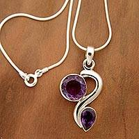 Amethyst pendant necklace, 'Delhi Dance' - Amethyst pendant necklace