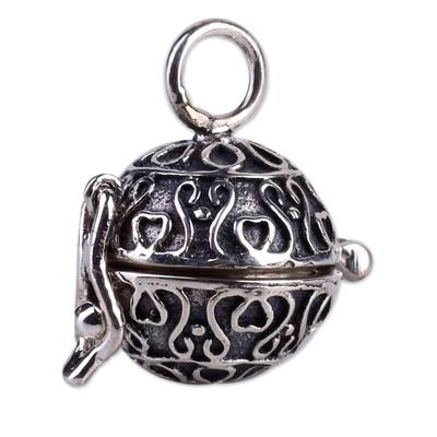 Sterling silver locket pendant, 'My Prayers' - Heart jewellery Locket Pendant in Sterling Silver
