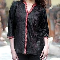 Cotton and silk blouse, 'Black Shimmer' - Cotton and silk blouse