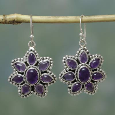 Amethyst dangle earrings, 'Purple Blossom' - Unique Floral Sterling Silver and Amethyst Dangle Earrings