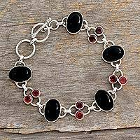 Onyx and garnet link bracelet, 'Festive Night' - Onyx and Garnet Bracelet from India Silver jewellery