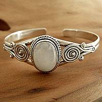 Rainbow moonstone cuff bracelet, 'Morning Magic'