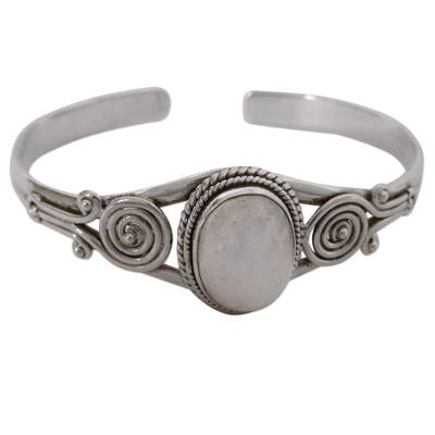 Sterling Silver and Rainbow Moonstone Cuff Bracelet