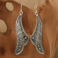 Sterling silver dangle earrings, 'Graceful Leaf' - Sterling silver dangle earrings