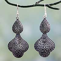 Sterling silver dangle earrings, 'Forest Shadow' - Dark Sterling Silver Dangle Earrings from India