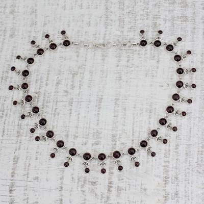 Garnet waterfall necklace, 'Gratitude' - Garnet India Necklace Artisan Crafted with Silver
