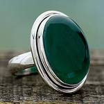 Sterling Silver Single Stone and Green Onyx Cocktail Ring, 'Universe'