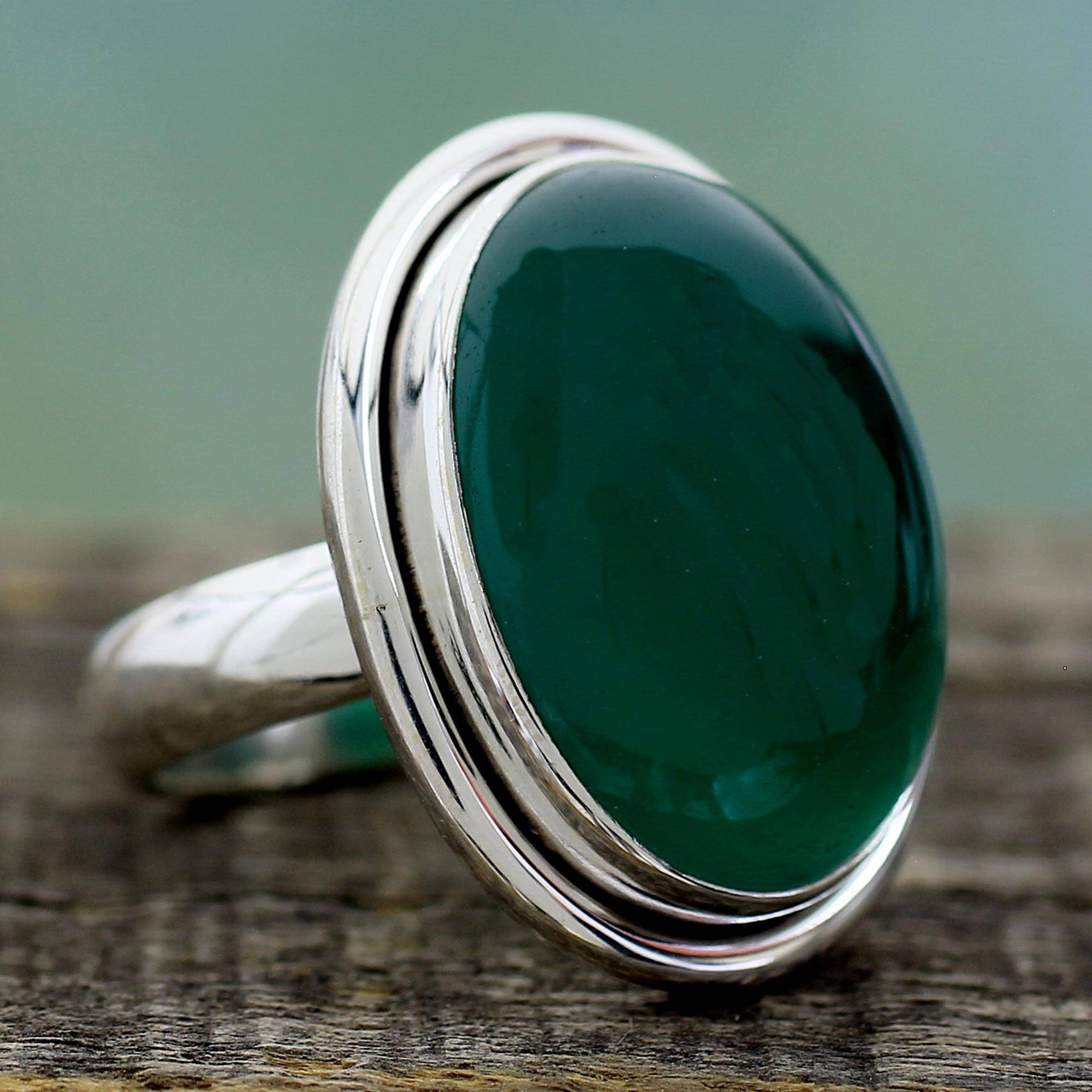 ae7be23b6343d Sterling Silver Single Stone and Green Onyx Cocktail Ring, 'Universe'