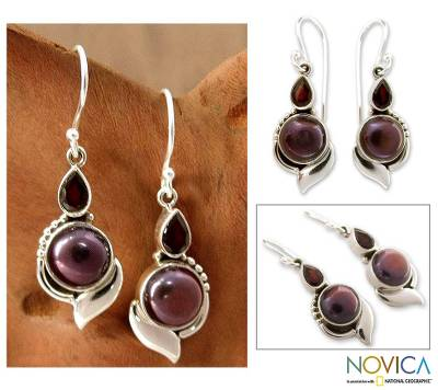 Pearl and garnet dangle earrings, 'Modern Romance' - Handcrafted Sterling Silver Garnet and Pearl Earrings