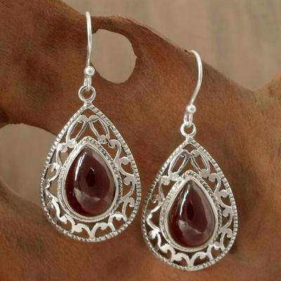 Garnet dangle earrings, 'Vivid Scarlet' - Garnet Earrings in Sterling Silver from India jewellery