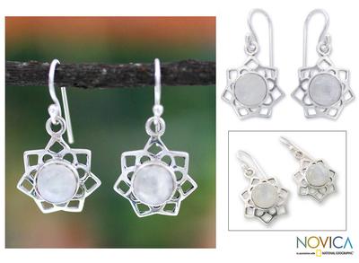 Moonstone dangle earrings, 'Star of Gujurat' - Moonstone dangle earrings