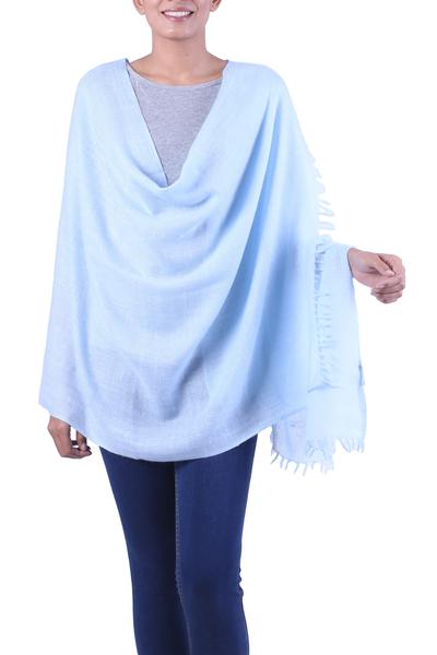 Angora wool shawl, 'Sky Meditation' - India Blue Angora Wool Shawl Wrap