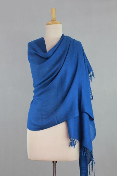 Angora wool shawl, 'Azure Meditation' - Angora wool shawl