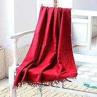 Angora wool shawl, 'Crimson Meditation' - Flowing Angora Wool Red Shawl from India