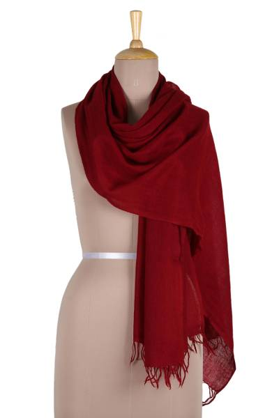 Angora wool shawl, 'Crimson Meditation' - Angora wool shawl
