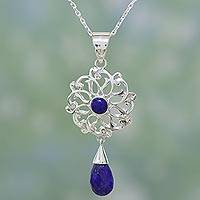 Lapis lazuli pendant necklace, 'Wise Love Chakra'