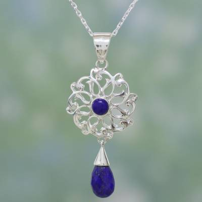 Lapis lazuli pendant necklace, 'Wise Love Chakra' - Lapis Lazuli and Sterling Silver Necklace Indian Jewelry