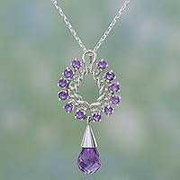 Amethyst pendant necklace, 'Mystic Dreamer' - Amethyst pendant necklace