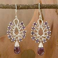 Amethyst dangle earrings, 'Mystic Dreamer' - Amethyst dangle earrings