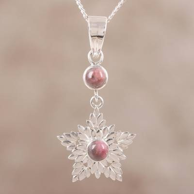 Rhodonite flower necklace, 'Love's Light' - Handcrafted Sterling Silver and Rhodonite Pendant Necklace