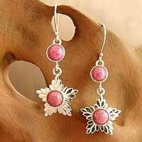 Rhodonite flower earrings, 'Love's Light' - Sterling Silver and Rhodonite Star Dangle Earrings