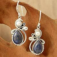 Pearl and lapis lazuli dangle earrings, 'Blue Midnight' - Women's Lapis Lazuli Pearl and Sterling Silver Earrings