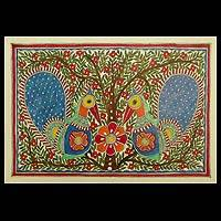 Madhubani painting, 'Dancing Peacock' - Madhubani Painting from India