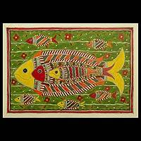 Madhubani painting, 'Cheerful Fishes' - Madhubani painting