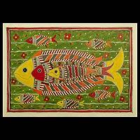 Madhubani painting, 'Cheerful Fishes'