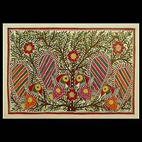 Madhubani painting, 'Peacock Cheer' - Madhubani painting