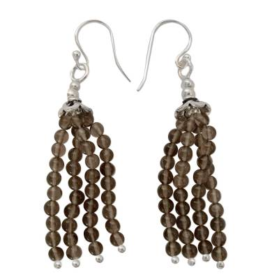 Sterling Silver and Smoky Quartz Earrings from India