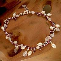 Featured review for Pearl and garnet anklet, Dancing Rose