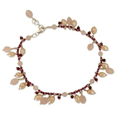Pearl Garnet and Rose Quartz Anklet Crafted in India