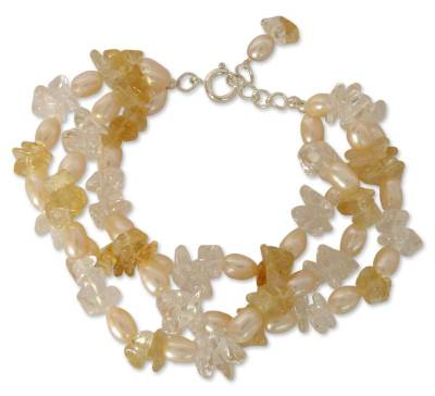 Pearl and citrine beaded bracelet