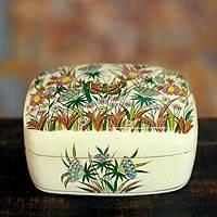 Paper mache jewelry box, 'Kashmir Butterfly' - Hand Made paper Mache jewellery Box