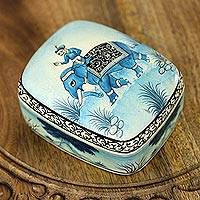 Papier mache jewelry box, 'Kashmir Dawn' - Papier Mache Jewelry Box