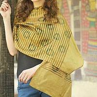 Silk shawl, 'Calcutta Splendor' - Silk shawl