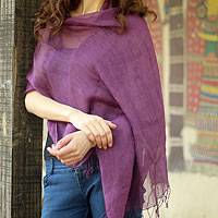 Linen shawl, 'Sheer Amethyst' - Purple Linen Shawl Lightweight Solid Plum  India