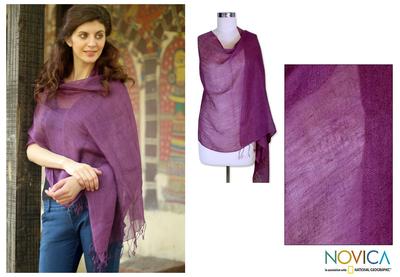 Linen shawl, 'Sheer Amethyst' - Purple Linen Shawl Lightweight Solid Plum  India