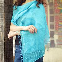 Linen shawl, 'Sheer Turquoise' - Women's Linen Solid Shawl from India