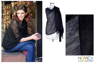 Linen shawl, 'Sheer Ebony' - Handmade Linen Wrap Shawl from India